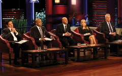 "SHARK TANK - ""Episode 502"" - There's potential millions at stake when the Sharks recognize one irresistible product and a feeding frenzy ensues among all of them, including guest Shark Steve Tisch, co-owner of the New York Giants and film producer. Whose offer will win? This week's entrepreneurs include sisters from Normal, Illinois whose gourmet edible cookie dough is meant to be enjoyed unbaked; Los Angeles entrepreneurs who've created organic flavored milk that tastes like what's left in the bowl after you've eaten your favorite cereal; an IPhone app by a Georgia inventor that uses the phone's built-in hardware to make it spin hands-free for panoramic picture taking; and an interactive workout technology from an Austin, Texas entrepreneur who brings out Olympic boxer Marlen Esparza to demo his product. Plus, we follow up with the Morganville, NJ owner of Pro-NRG, a protein infused water endorsed by the NFL's Brandon Jacobs,  in which Daymond John invested last season on ""Shark Tank,"" FRIDAY, JANUARY 31 (9:00-10:00 p.m. ET) on the ABC Television Network. (ABC/Craig Sjodin) MARK CUBAN, DAYMOND JOHN, KEVIN O'LEARY, LORI GREINER, STEVE TISCH"
