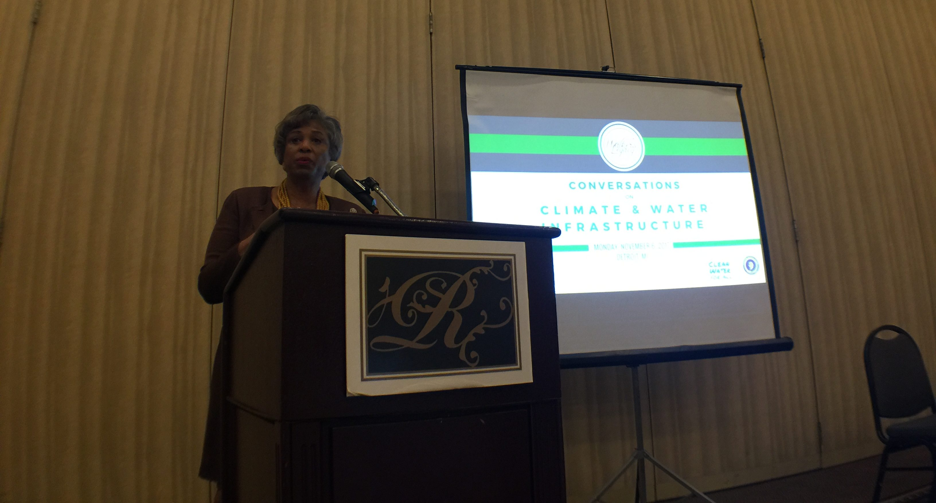 Congresswoman Brenda L. Lawrence provides featured remarks during the program